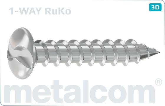 Security screws tapping one way round head screws - RuKo