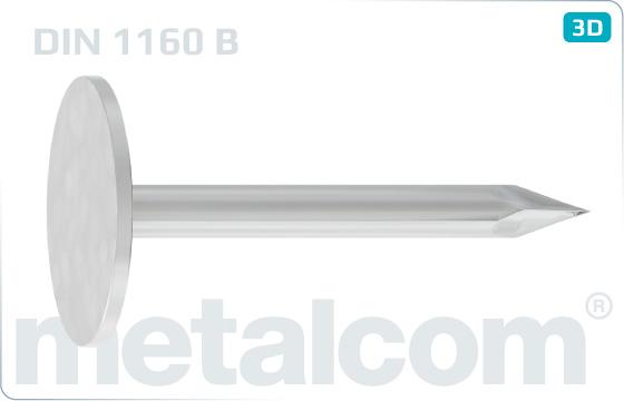Hřebíky s plochou hlavou do krytiny s velkou hlavou - DIN 1160 B