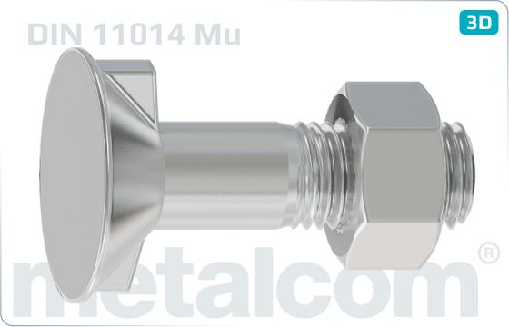 Śruby z noskiem lub kwadratowym podsadzeniem z 2 noskami, łbem wpuszczonym i nakrętką sześciokątną - DIN 11014 Mu