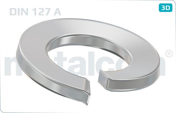 Podložky pružné s obdélníkovým průřezem (vyhnuté konce) - DIN 127 A