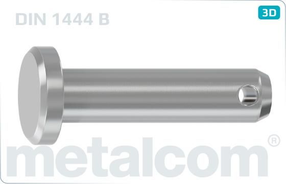 Kolíky s hlavou s mezními úchylkami h11 a dírou - DIN 1444 B