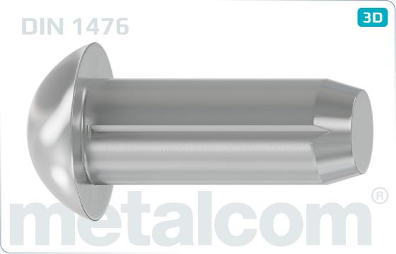Kolíky rýhované s půlkulovou hlavou - DIN 1476