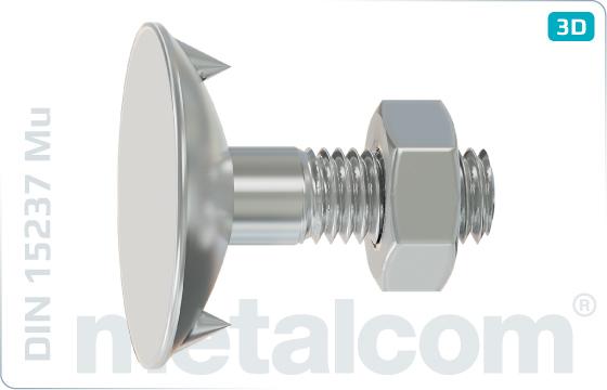 Śruby z noskiem lub kwadratowym podsadzeniem wklęsłe z nakrętką sześciokątną - DIN 15237 Mu