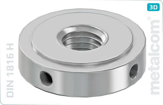 Hole nuts with set pin holes inside (W-hardened, ground) - DIN 1816 H