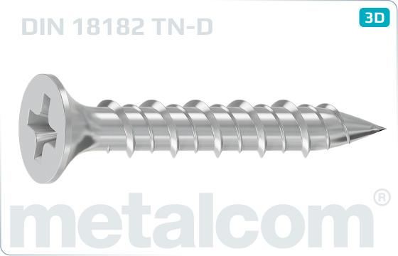 Wkręty do płyt gipsowo-kartonowych z łbem kielichowym, nacięciem krzyżowym i gwintem dwuzwojowym - DIN 18182 TN-D