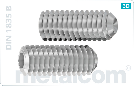Set screws hexagon socket with cup point for milling cutters - DIN 1835