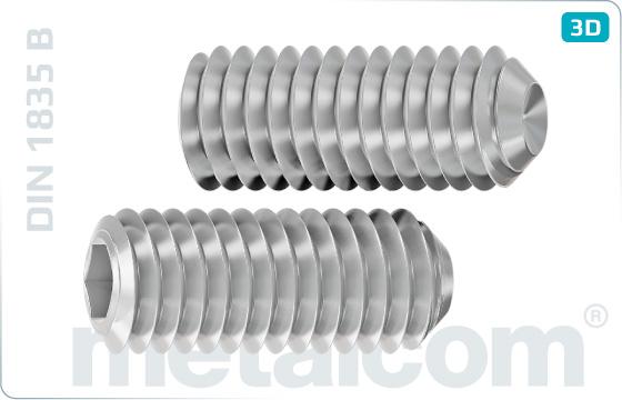 Skrutky nastavovacie s vnútorným šesťhranom a kužeľovou jamkou pre frézy - DIN 1835 B