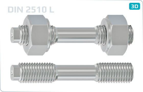 Studs and shackles double ended studs with reduced shank - DIN 2510