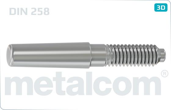 Kolíky kuželové s vnějším závitem nekalené a konstantní délkou kužele - DIN 258