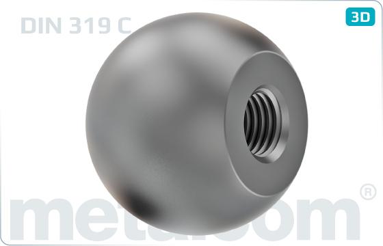 Matice pro ruční utahování kulové otočné - DIN 319 C
