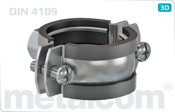 Objímky trubkové se 2 šrouby a tlumící vložkou - DIN 4109