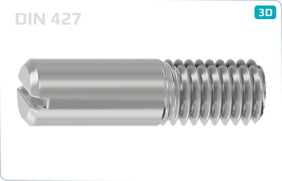 Skrutky nastavovacie s drážkou a čiastočným závitom - DIN 427