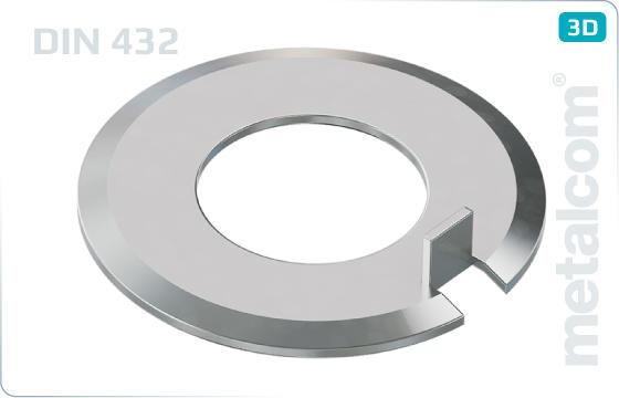 Podložky ploché pojistné s vnějším nosem - DIN 432
