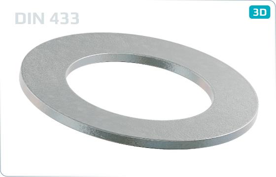 Podložky ploché pro šrouby s válcovou a půlkulatou hlavou - DIN 433