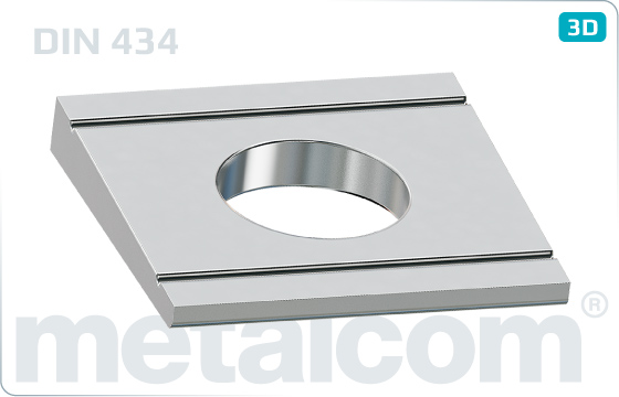 Square washers for U-sections (8%) - DIN 434