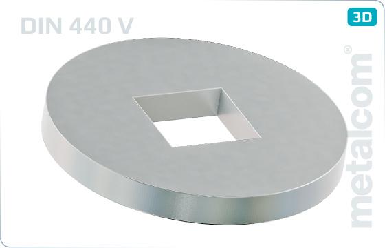 Podložky ploché pro dřevěné konstrukce se čtvercovým otvorem - DIN 440 V