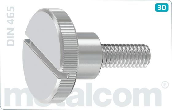 Šrouby rýhované s vysokou rýhovanou hlavou a průběžnou drážkou - DIN 465