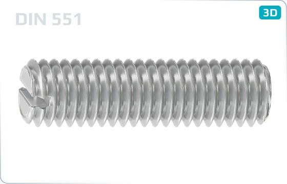 Wkręty dociskowe z rowkiem i końcem płaskim - DIN 551