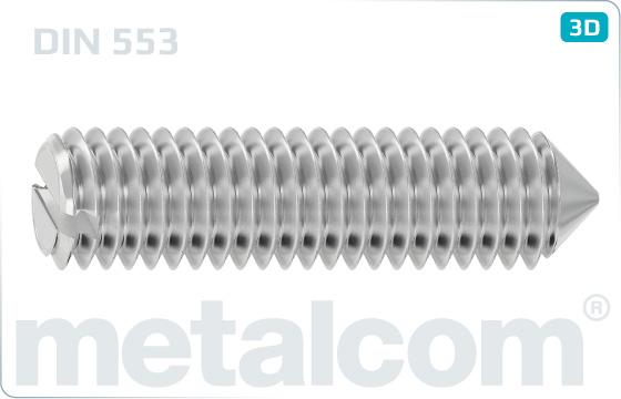 Skrutky nastavovacie s drážkou a hrotom - DIN 553