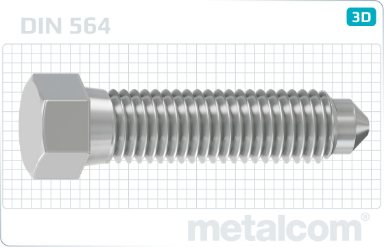 Hexagon set screws with half dog point and cone end - DIN 564