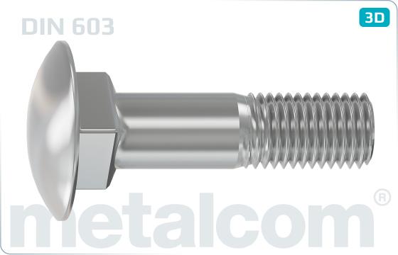 Skrutky s nosom alebo štvorhranom so štvorhranom a nízkou zaoblenou hlavou (vratové) - DIN 603