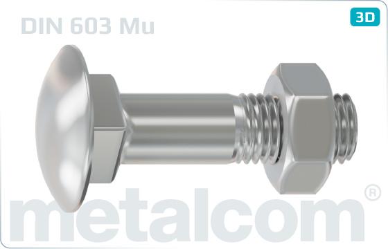 Skrutky s nosom alebo štvorhranom so štvorhranom a nízkou zaoblenou hlavou (vratové) a šesťhrannou maticou - DIN 603 Mu