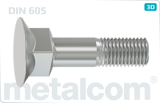 Nib or square neck bolts flat countersunk square neck bolts, long square - DIN 605