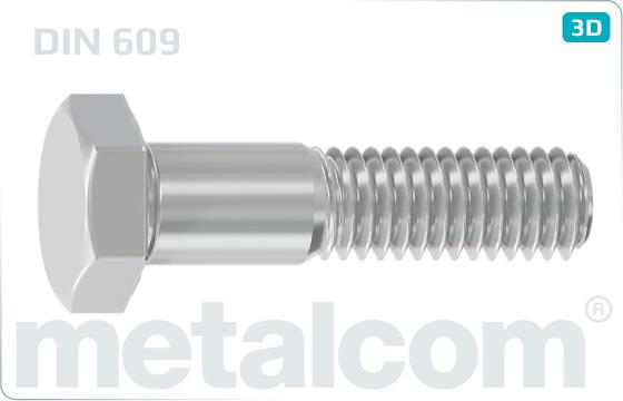 Šrouby se šestihrannou hlavou lícované s dlouhým závitem - DIN 609