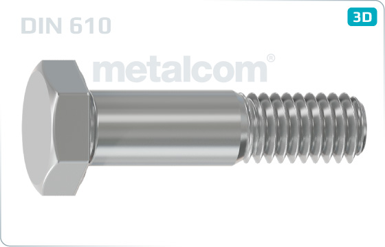 Hexagon fitted bolts short threaded - DIN 610