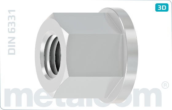 Hexagon nuts height of 1,5d and collar - DIN 6331