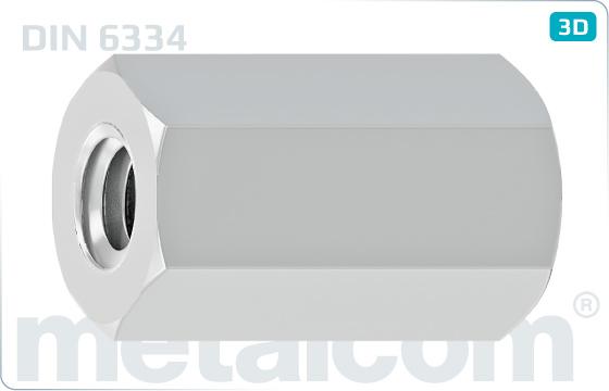 Matice šesťhranné predlžovacie 3d - DIN 6334