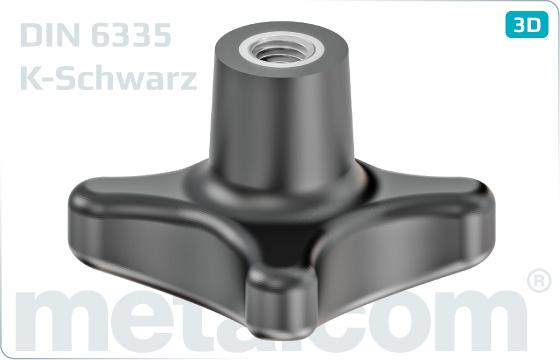 Matice pro ruční utahování křížové otočné - DIN 6335 K-Schwarz