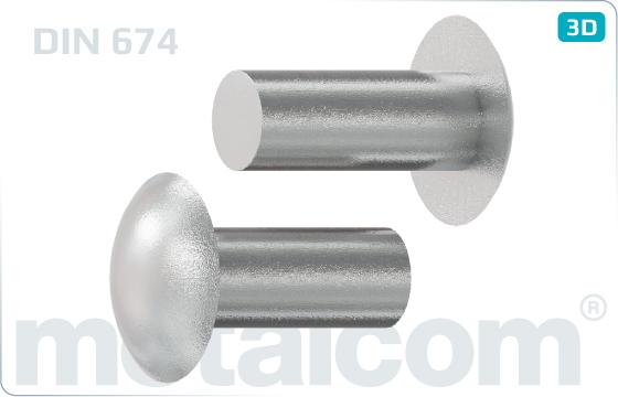 Nýty klasické přesné s plochou kulovou hlavou - DIN 674