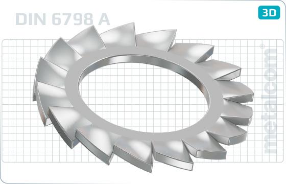 Podložky vějířovité s vnějším ozubením - DIN 6798 A
