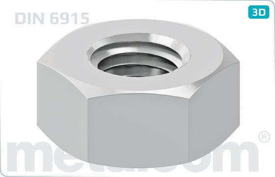 Nakrętki sześciokątne do połączeń sprężanych - DIN 6915
