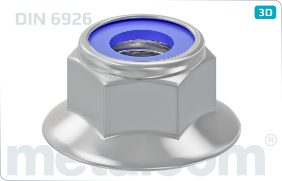 Hexagon nuts prevailing torque type, heavy with nylon insert with flange - DIN 6926