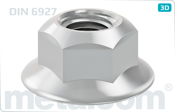 Hexagon nuts prevailing torque type, all-metal and with flange - DIN 6927