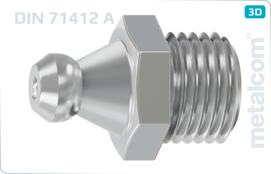 Hexagon lubricating nipples with axial head - DIN 71412 A