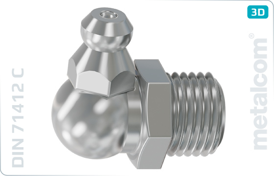 Hexagon lubricating nipples with head 90° - DIN 71412 C