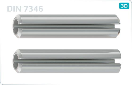 Kolíky pružné se štěrbinou, lehké provedení - DIN 7346