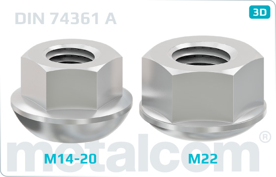 Hexagon nuts with spherical collar - DIN 74361