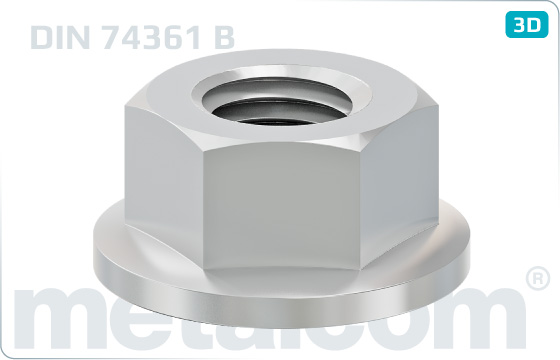 Hexagon nuts with flat collar - DIN 74361