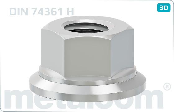 Sechskantmuttern mit drehbarer Unterlage für Räder - DIN 74361 H