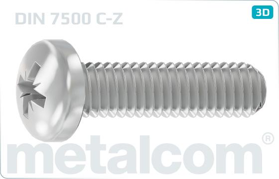 Šrouby závitotvorné s půlkulatou hl. a kříž. drážkou - DIN 7500 C-Z
