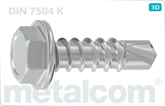 Šrouby samovrtné se šestihrannou hlavou a límcem - DIN 7504 K
