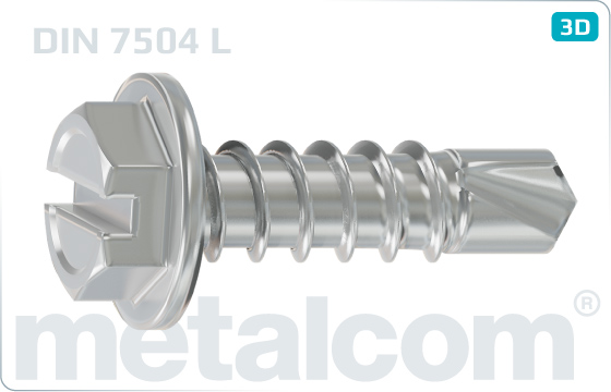 Self-drilling tapping screws slotted hexagon washer head - DIN 7504