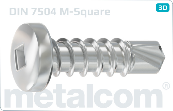 Self-drilling tapping screws square recessed pan head - DIN 7504