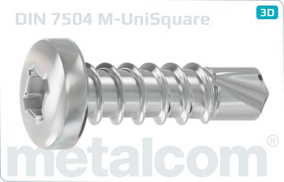Šrouby samovrtné s válcovou hlavou zaobl. a čtvercovou drážkou kombinovanou - DIN 7504 M-UniSquare
