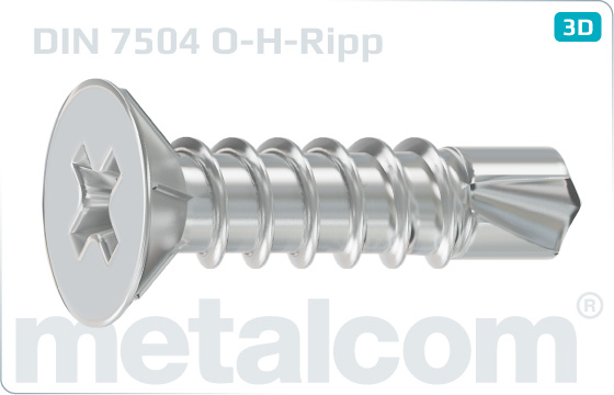 Self-drilling tapping screws cross recessed countersunk head and ribbing - DIN 7504