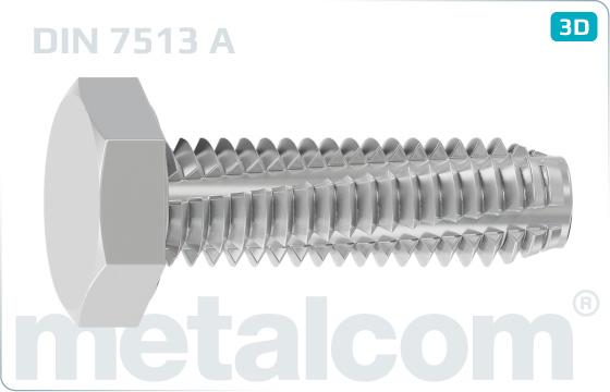 Skrutky závitorezné so šesťhrannou hlavou - DIN 7513 A